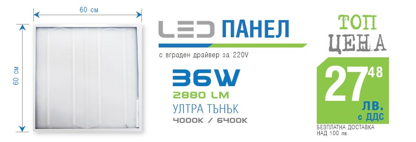 led панел36w 60х60см