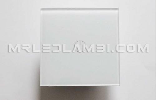 единичен ключ touch стъклен панел бял